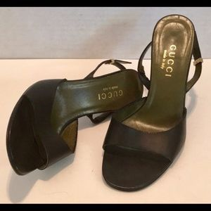 GUCCI Slingback SEXY PERFECT SANDAL Black Leather